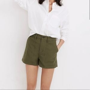 Madewell Camp Shorts Army Green High Waisted L
